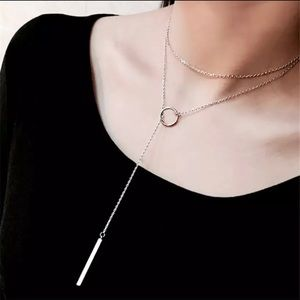 Adjustable Long Chain Circle Bar Silver Necklace